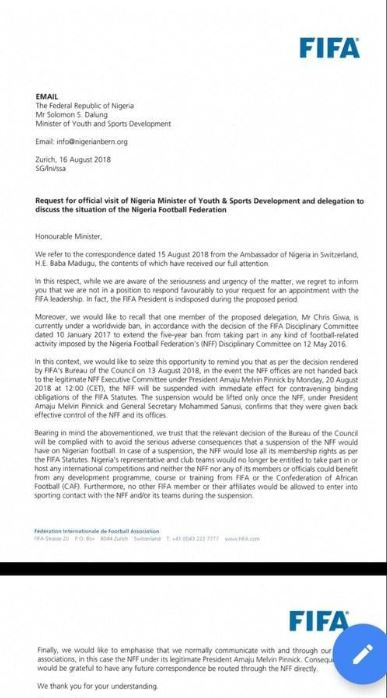 FIFA-letter